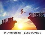 silhouette of business man jump ...   Shutterstock . vector #1159609819