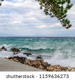 adriatic sea beach with tree... | Shutterstock . vector #1159636273