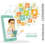 online medical consultation... | Shutterstock .eps vector #1159640296