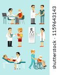 set of doctors and patients in...   Shutterstock .eps vector #1159643143
