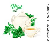 ceramic teapot and tea cup....   Shutterstock .eps vector #1159660849
