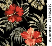 tropical vintage red hibiscus... | Shutterstock .eps vector #1159662880