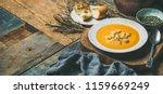 fall warming pumpkin cream soup ... | Shutterstock . vector #1159669249