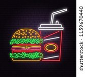retro neon burger and cola sign ... | Shutterstock .eps vector #1159670440