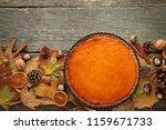 Pumpkin Tart With Dry Leafs On...