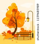 autumn park with a bench and a... | Shutterstock .eps vector #1159685989