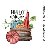 watercolor hello autumn card... | Shutterstock . vector #1159690093