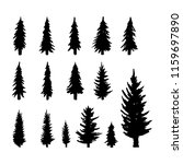 set. silhouette of pine trees. | Shutterstock .eps vector #1159697890