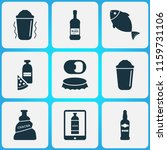 alcohol icons set with shaker ... | Shutterstock .eps vector #1159731106