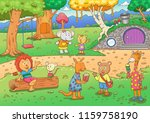 cartoon illustration of wild... | Shutterstock .eps vector #1159758190