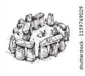 Stonehenge Line Art Sketch...