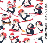 seamless pattern with penguins. ... | Shutterstock .eps vector #1159771456