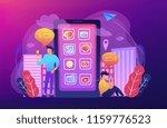 men near huge smartphone with... | Shutterstock .eps vector #1159776523