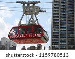 Small photo of NEW YORK -AUGUST 9, 2018: The famous Roosevelt Island Tramway that spans the East River and connects Roosevelt Island to the Upper East Side of Manhattan