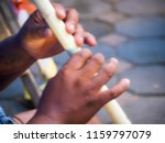 blurry image hands of a man... | Shutterstock . vector #1159797079