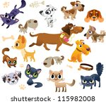 Stock vector collection of cats and dogs 115982008