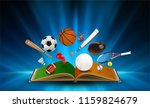 sports equipment out of book on ... | Shutterstock .eps vector #1159824679