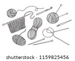 vector set of knitting tools... | Shutterstock .eps vector #1159825456
