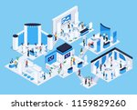 isometric exhibition hall with... | Shutterstock .eps vector #1159829260