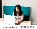 beautiful and cute brunette...   Shutterstock . vector #1159834699