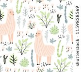seamless pattern with llama ... | Shutterstock .eps vector #1159838569