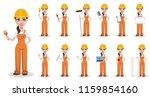 beautiful female builder in... | Shutterstock .eps vector #1159854160