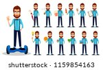 young bearded hipster man in... | Shutterstock .eps vector #1159854163