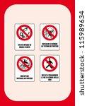 danger sign  may not work on... | Shutterstock .eps vector #115989634