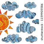 banner with hand drawn clouds... | Shutterstock .eps vector #1159905586
