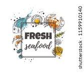 fresh seafood concept design.... | Shutterstock .eps vector #1159910140