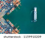 container port terminal keep busy and congestion by the ships vessels are working operation in transfer cantainers cargo shipment, transport and logistics services to global Worldwide - stock photo