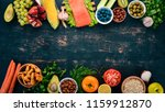 a set of healthy food. fish ... | Shutterstock . vector #1159912870
