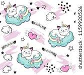 cat unicorn  splash  heart and... | Shutterstock .eps vector #1159920526