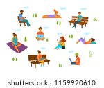 young men and women with mobile ... | Shutterstock .eps vector #1159920610