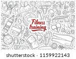 hand drawn fitness training set ... | Shutterstock .eps vector #1159922143