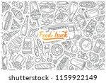 hand drawn food truck set... | Shutterstock .eps vector #1159922149