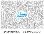 hand drawn skiing set doodle... | Shutterstock .eps vector #1159922170