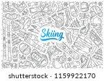 hand drawn skiing set doodle... | Shutterstock .eps vector #1159922170