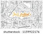 hand drawn jazz festival set... | Shutterstock .eps vector #1159922176