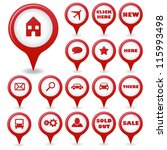 set of red vector pointers | Shutterstock .eps vector #115993498