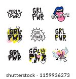 typography colorful slogan girl ... | Shutterstock .eps vector #1159936273