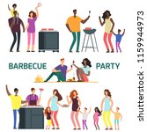 barbeque party cartoon... | Shutterstock .eps vector #1159944973