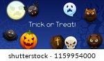 happy halloween greeting card.... | Shutterstock .eps vector #1159954000