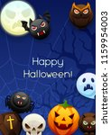 happy halloween greeting card.... | Shutterstock .eps vector #1159954003