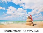 Sandy Snowman. Holiday Concept...