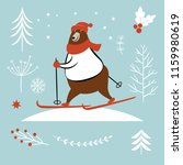 bear ski in winter  vector... | Shutterstock .eps vector #1159980619