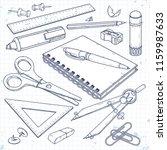 vector set office supplies ... | Shutterstock .eps vector #1159987633