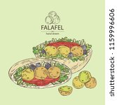 falafel in pita with vegetables ... | Shutterstock .eps vector #1159996606