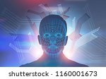 abstract human male face with...