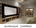 home theater with wine tasting room, big screen, wood cabinets, - stock photo